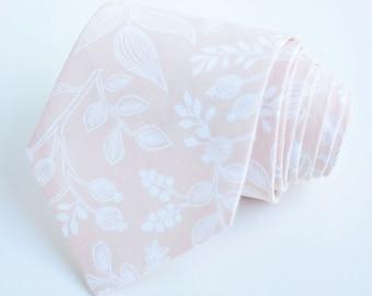 Necktie, Neckties, Mens Necktie, Neck Tie, Floral Neckties, Groomsmen Necktie, Ties, Rifle Paper Co - Queen Ann In Peach