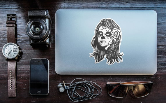 Sugar Skull Girl - Day of the Dead, Old School Stickers with white border, Calavera Catrina with flower, Retro , Monochrome, Black and White