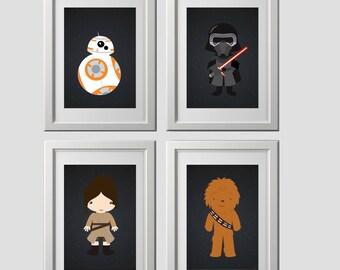 star wars wall art prints, star wars wall decor, starwars, set of 4 high quality prints, the force awakens wall art, star wars bedroom decor