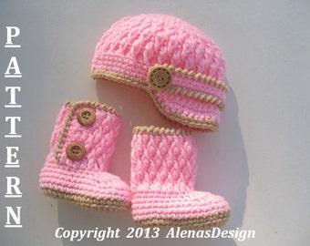 Crochet PATTERN Set - Two-Button Baby Booties - Baby Visor Hat Newborn Baby Boy Baby Girl Winter Slippers Crochet Pattern Beanie Visor Boots