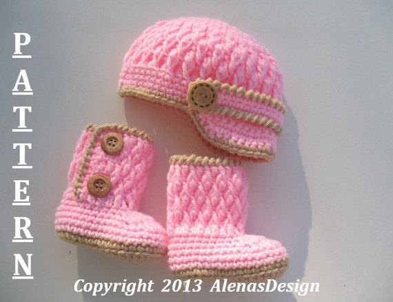 Crochet PATTERN Set - Two-Button Baby Booties - Baby Visor Hat Newborn Baby Boy Baby Girl Winter Slippers Crochet Pattern Beanie Visor Boots