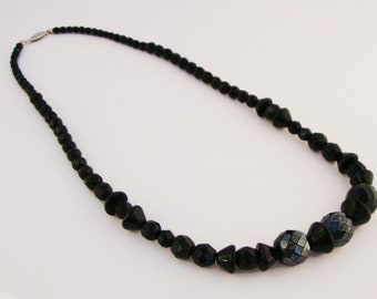 Vintage Black Faceted Beaded Necklace
