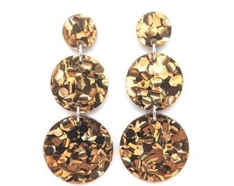 Triple Tier Dangle Earring - Bronze