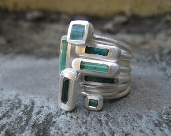 One Natural Raw Blue Tourmaline / Fine Silver Stacking Ring