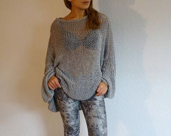 loose knit sweater, knit oversized sweater, slouchy sweater, knit sweater, cotton sweater, oversized, plus size, pearlgray, made to order