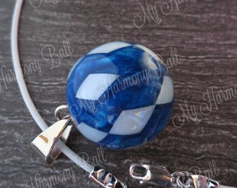 Harmony Ball/Blue Resin and White Mother of Pearl or Nacre/Bola Ball Necklace/Angel Caller/Motherhood Necklace/Pregnancy Bell/Harmony Bell