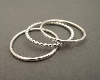 Sterling Silver Rings Stackable Rings Stacking Rings sterling silver bead wire stackable rings