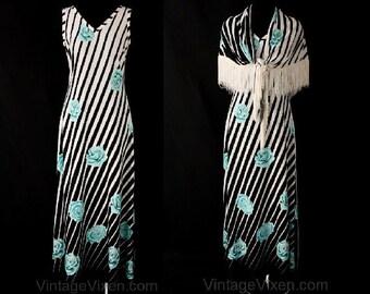 Size 8 Lolita Chic 1970s Black Striped & Blue Roses Sun Dress with Shawl - 70s Maxi Dress - Summer - Bust 35 - Waist 30 - 36898-1