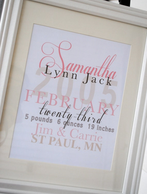 Framed Personalized Baby Stats The Samantha