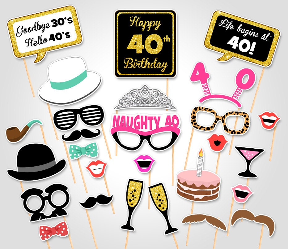 Printable Birthday Photo Booth Props ~ Th birthday party printable photo booth props