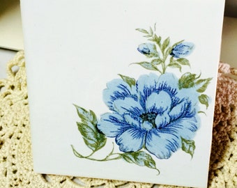 Vintage H.R. Johnson Tile-Blue Flower-Made in England