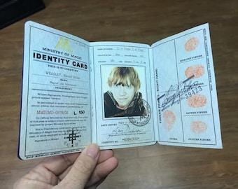 Ron Weasley Ministry of Magic ID/Weasley Cosplay/Weasley Costume/JK Rowling fan/Gift for Potter Fan/Gryffindor cosplay/Hufflepuff Pride