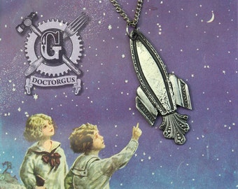 Rocket Ship Pendant - Inspired by Antique Victorian Silverware - Doctorgus Handmade Jewelry Creations - Steampunk Style Spaceship Rocketship