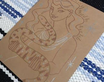 Dessin original de métallique - femme avec serpent n ° 2