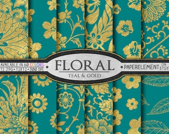 Gold and Teal Wedding Digital Paper - Printable Floral Patterns for Teal and Gold Wedding Scrapbook Paper or Bridal Shower Flower Backdrops