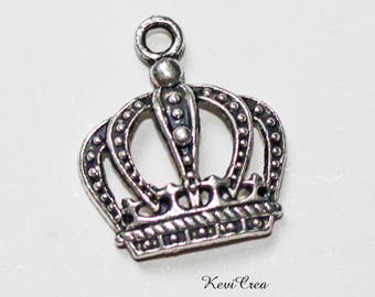 10 x charms silver Crown charms