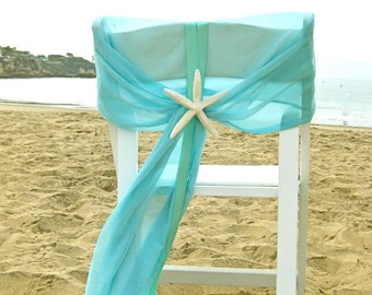 Beach Wedding Aqua Chair Caps with Starfish or Sand Dollar - Set of 2