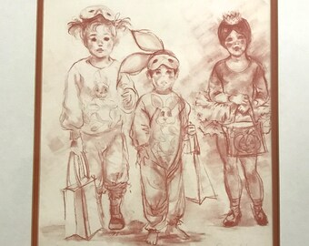 Connie King print . numbered print . trick or treat . carol king drawing serigraph . hand signed