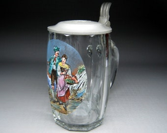 Sachsische Glasfabrik glass stein with enamel art that i would think was hand painted pewter lid