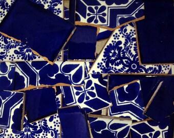 Broken Mexican Talavera Tiles Handmade Blue & White Color Mosaic Tile Pieces 10 Pounds