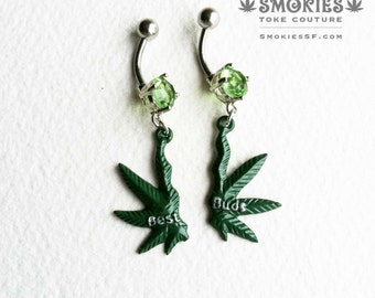 Best Buds Marijuana belly Button Jewelry, weed belly ring, BFF gift,stoner,cannabis jewelry,belly button ring,bellybutton ring SMBE-0004-SBB