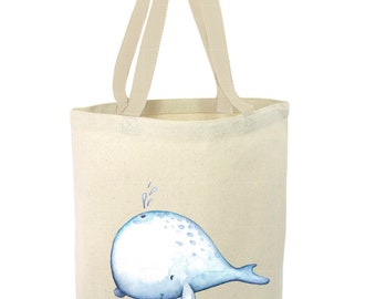 Heavy Duty Canvas Tote Bag - Whale, Baby Whale Tote Bag, Beach Tote Bag,The Toad's Totes,Reusable Tote, Project Bag