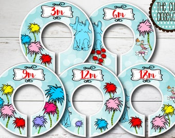 Baby Closet Dividers - Suess Horton- Clothes Organizers Nursery Decor Baby Shower Gift - Teal Pink Magenta Purple Yellow Who Elephant