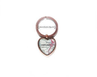 Portland Heart Keychain Map Location in Antique Copper