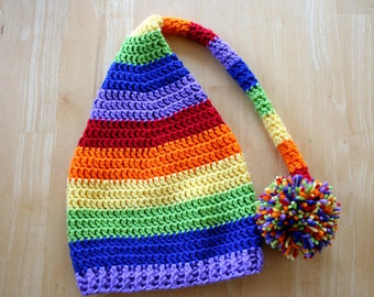 Rainbow baby elf hat, rainbow stocking hat, gay pride hat, LGBT, crochet photo prop, Newborn baby to 12 month sizes