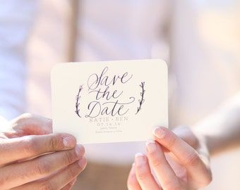 Custom Calligraphy Save the Date Stamp 3 x 2.5 for Wedding Save the Date Customized Wood Handle Rubber Stamp Hand Written Calligraphy