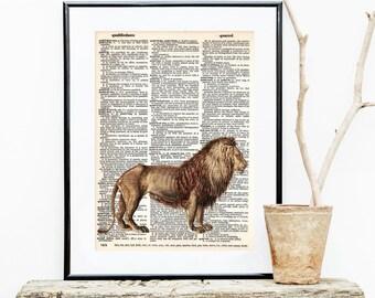 LION Dictionary Art Print, Safari Nursery Art, Jungle baby shower decorations, Wall Art, zoo animals, children art, nursery decor, #154-7