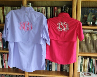 Monogrammed Fishing Shirts-- --SIZE MEDIUM---Short  Sleeve- --- Cool Summer Shirt /Swimsuit Cover Up/ Bridesmaid Gift!