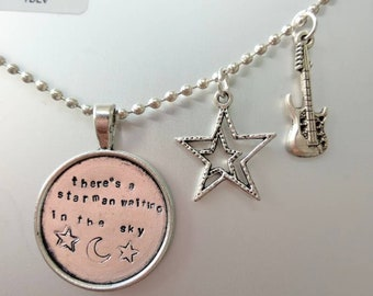 David Bowie, there's a starman waiting in the sky, handstamped necklace, with star charm