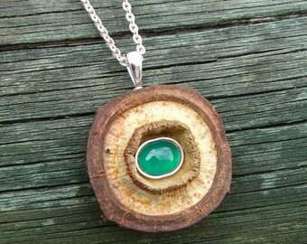Naturaleza y joyas -Collar y colgante elaborado con semilla de eucalipto y cabujón oval de ágata en plata de ley