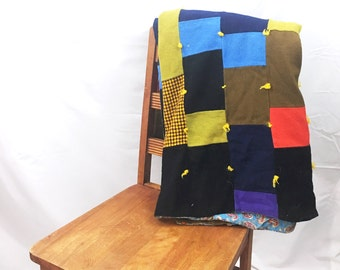 Vintage Polyester Patchwork Throw