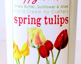 Scented Shea Butter Hand Lotion - Spring Tulips Light Floral Fragrance - Hand Cream for Knitters Happy Hands Knitting