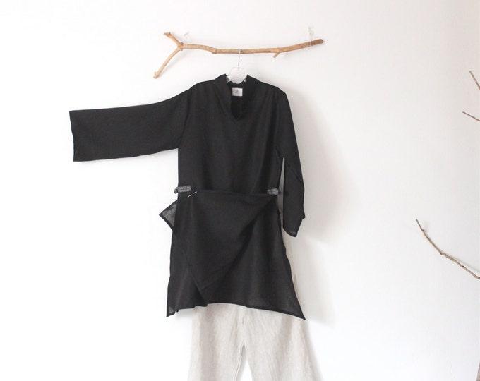 black hanky linen ao dai robe with kimono fabric toggles ready to wear size M / black linen ao dai robe blouse / ao dai wedding / ai dai