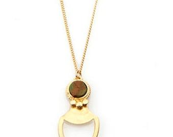 Turquoise pendant, Gold necklace, raw stone pendant, turquoise stone pendant, tribal necklace, gemstone necklace, turquoise necklace, junam