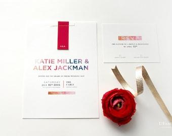 Custom Wedding Invitation Design – Pink Wedding Invitation, Modern, bold invitation design – Sample only