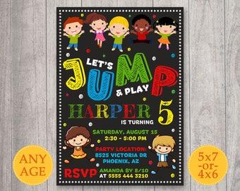 Trampoline Invitation, Bounce house invitation, Pump it up birthday invitation, Trampoline Jump Invite, Jumping invitation, Pump It Up Party
