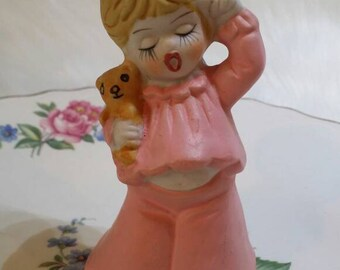 Sweet Sleepy Kitschy Girl Holding Dolly - Bell Figurine