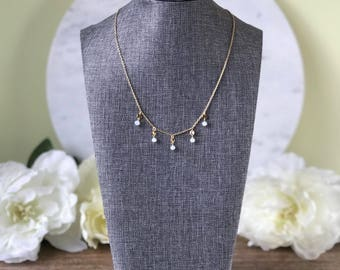 Crystal raindrops necklace with gold coins and glass crystal -  choose your color!