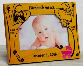Personalized Baby Picture Frame, Baby Girl Picture Frame, New Baby Girl Frame, Baby Girl Frame, Baby Girl Birth Frame, Forest Baby Frame