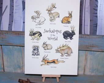 Jackalopes of the World - A4 Print on 270gsm Card available in 3 Colours