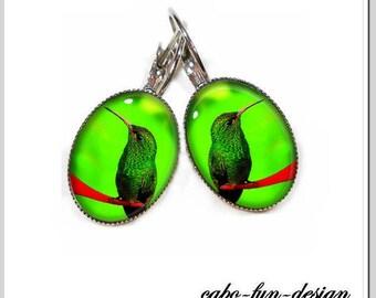 Earrings 13 x 18 mm Cabochonschmuck Green Hummingbird Green Hummingbird