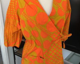 60s Orange yellow swimsuit bathing cover up robe