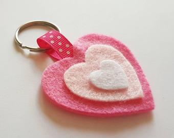 Pink Felt Heart Keyring, pink felt heart keychain, felt keyring, felt keychain, heart keyring, heart keychain, die cut heart, pink heart