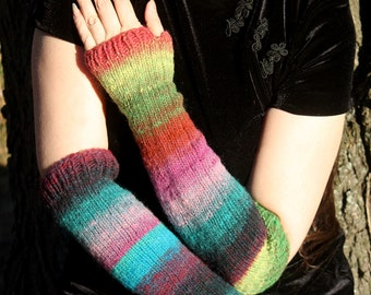 Luxury Hand-Knit Arm-Warmers, Green/Purple/Turquoise/Blue/Rust, Colorful, Fingerless Gloves, Opera-Length, 100% Wool, Mori Kei, Forest Girl