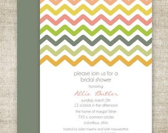 Chevron Mod BRIDAL SHOWER INVITATIONS Custom Digital diy Printable Cards - 90577228