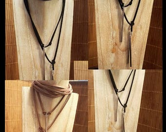 Black suede necklace with silver plated stick